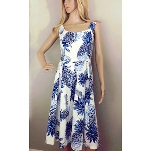 Chetta B Dress 14 with blue pineapples